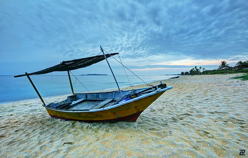 sea beach sunrise dawn boat hdr marang