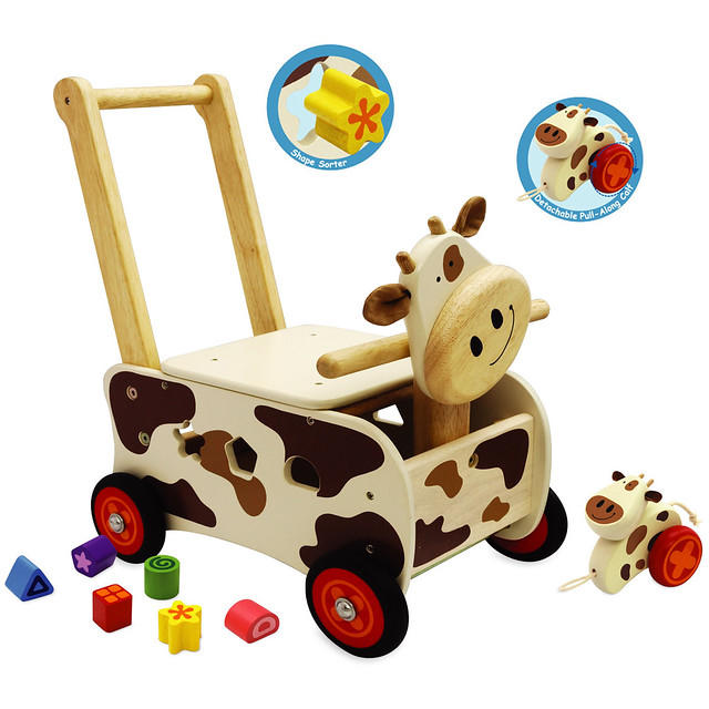 Kids Wooden Walker & Rider Shape Sorting Cow Baby Activity Walking Toy ...