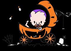 Baby vampire n pumpkin stroller