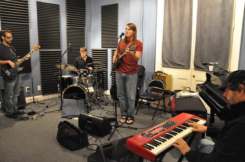 Colin Lake and his band performing at WWOZ.   Photo by Kichea S Burt.