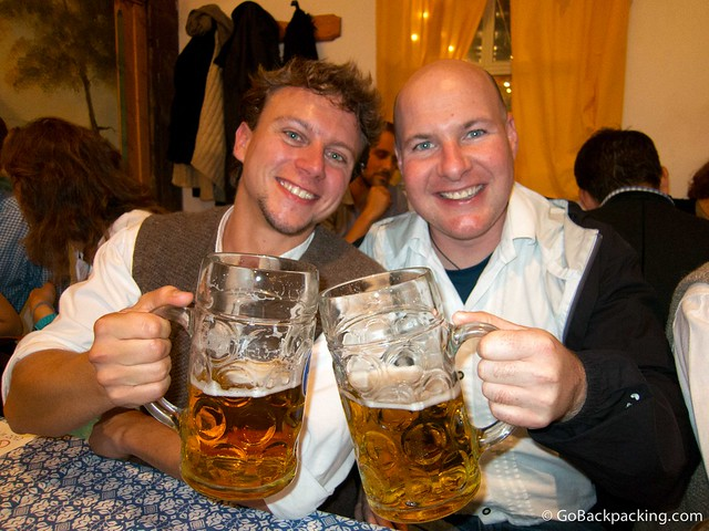 Drinking beer at Oktoberfest