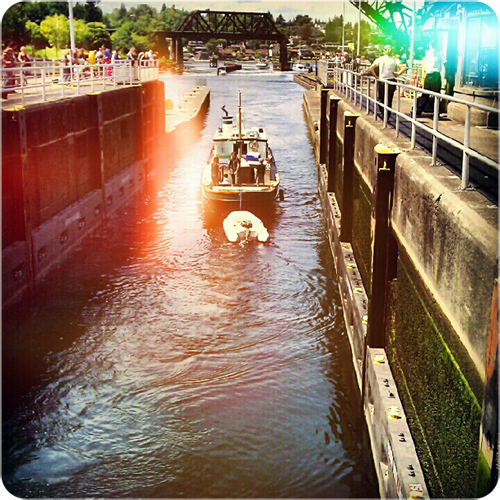 {boat} using the locks