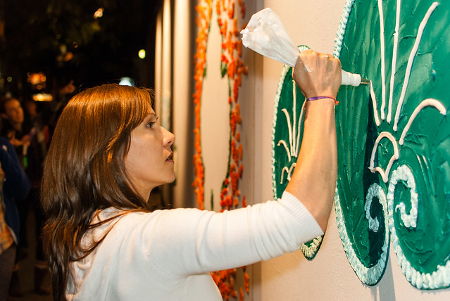 """Shelley Miller working on """"Throw-Up"""", Nuit Blanche"""