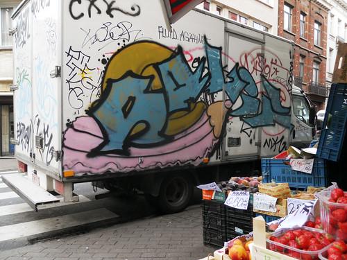 Un camion au crayon fruits & légumes