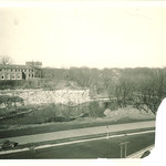 Law Commons on hill above Riverside Drive, the University of Iowa, 1930s