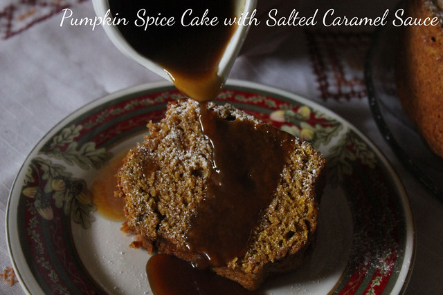 Pumpkin Spice Cake with Salted Caramel Sauce