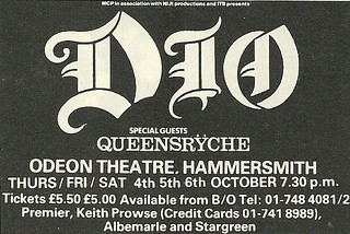 10/04-05-06/84 Dio/ Queensryche @ Hammersmith Odeon, London, England