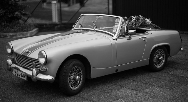 Azorean Wedding: Austin Healey Sprite with flowers.