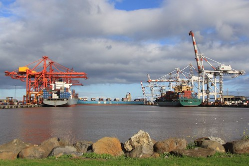 Container ships berthed at Swanson Dock