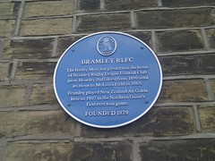 Photo of Bramley Rugby League Football Club and New Zealand All Golds blue plaque