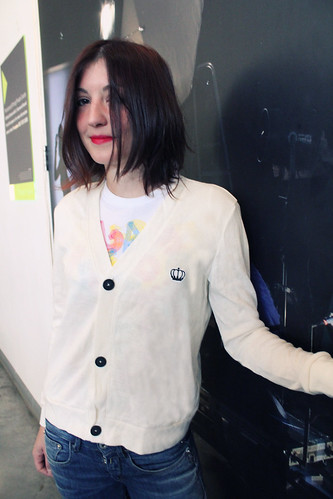 Queens Of Sounds Ivory color simple cardigan  - Susanna