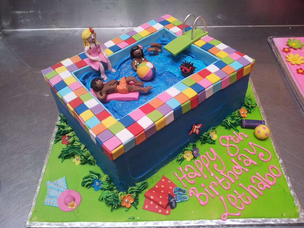3d Swimming Pool Shaped Wicked Chocolate Cake Decorated With 3d
