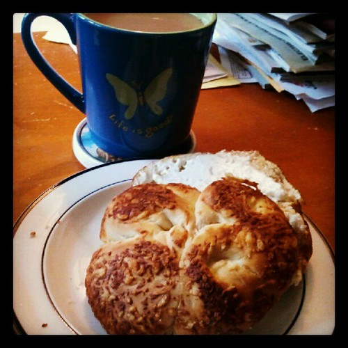 Good Morning! #asiagocheese #bagel #creamcheese #coffee #breakfast #food #yumo #lifeisgood