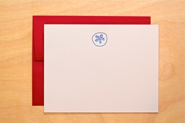 letterpress sand dollar stationery