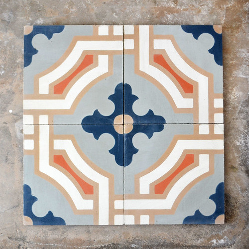 Cement Tile - Indigo Blue & Orange