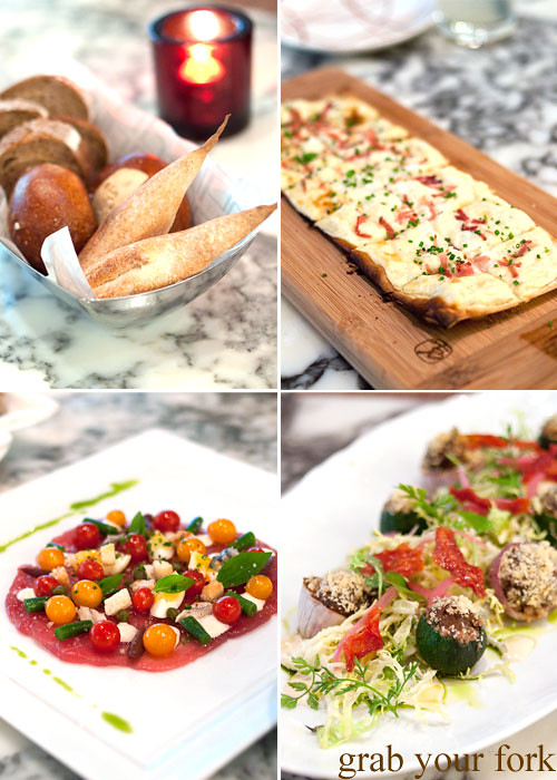 flambe tarte, salad nicoise, petits farcis provencaux at daniel boulud db bistro moderne at marina bay sands singapore