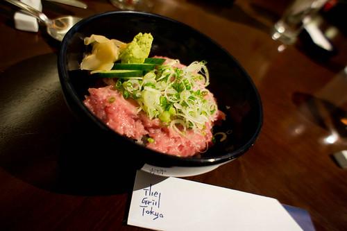 Japanese's Rice bowl of fresh chopped tuna belly