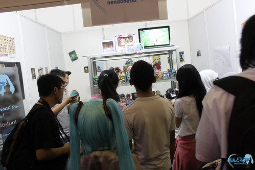 The booth was fully packed with visitors most of the time
