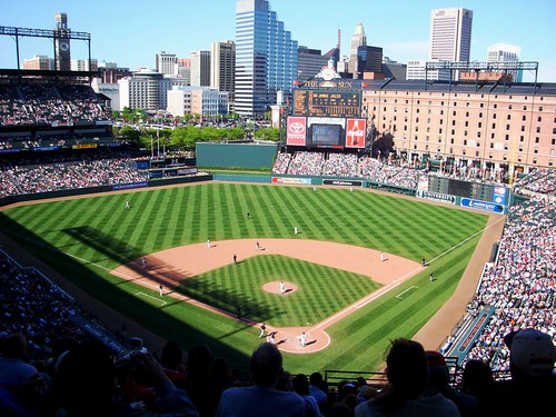 Orioles Park at Camden Yards, walkable from downtown (by: Shoshana, creative commons)