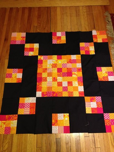 A small quilt using up leftover pieces from the space invader.