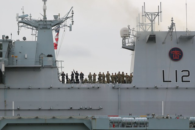 HMS Ocean leaving London