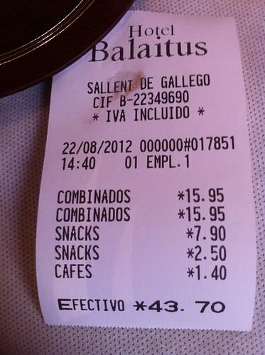 Sallent de Gállego | Restaurante Hotel Balaitus | La cuenta