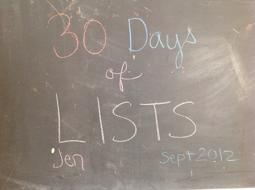 30 Lists cover (starting very late!) #30lists