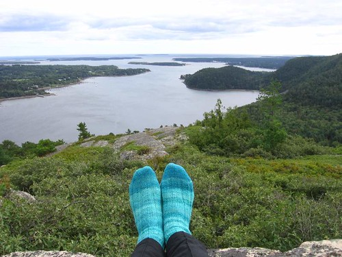 Simple Skyp Socks on Acadia Mountain