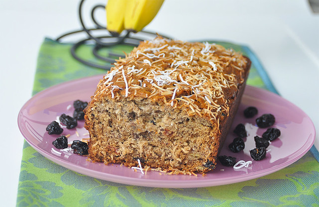 Banana Coconut Bread with Dried Cherries