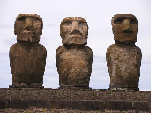 Tres moais de Ahu Tongariki