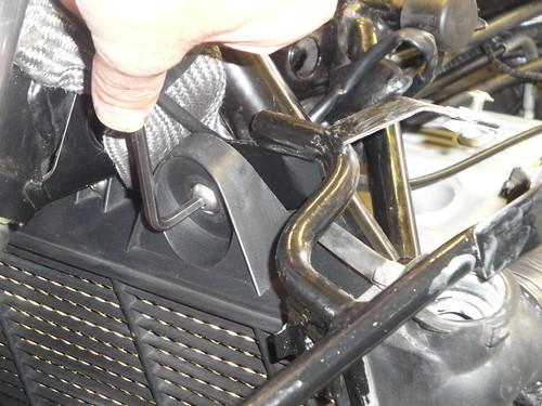 Upper left-hand mounting bracket - also retains fairing subframe