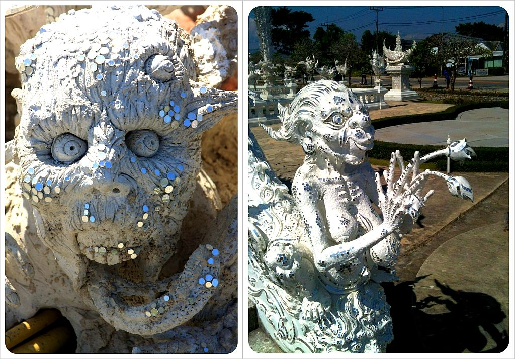 chiang rai white temple sculptures