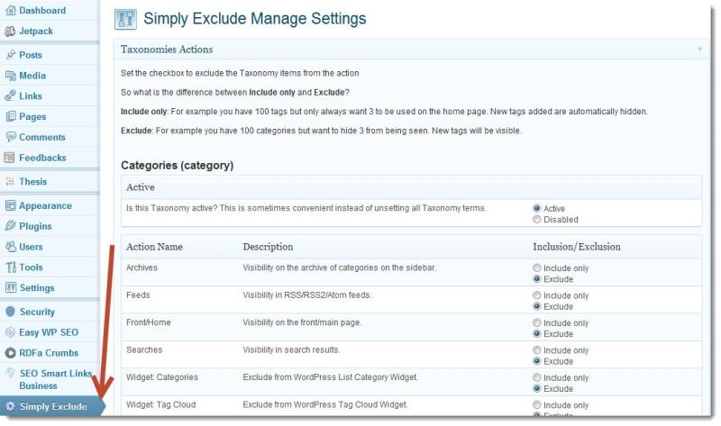 Tùy chọn thiết lập cho Simply Exclude