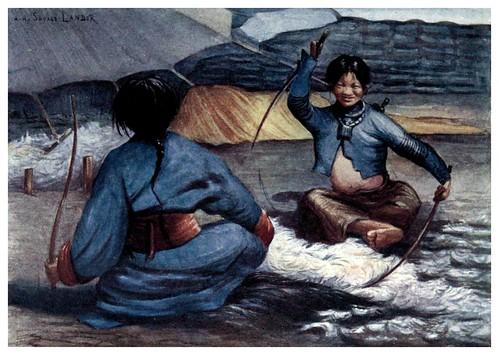 013-Mujeres tibetanas limpiando lana-Tibet & Nepal-1905-A. H. Savage-Landor