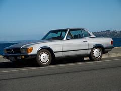 executive car(0.0), mercedes-benz(0.0), convertible(0.0), sports car(0.0), automobile(1.0), automotive exterior(1.0), wheel(1.0), vehicle(1.0), performance car(1.0), mercedes-benz r107 and c107(1.0), bumper(1.0), sedan(1.0), land vehicle(1.0), luxury vehicle(1.0),