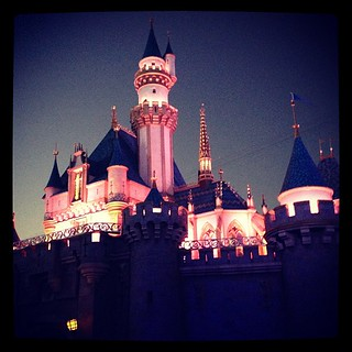 sleeping beauty castle at dusk