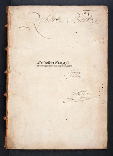 Ownership inscriptions in Barzizius, Christophorus ['medicus']: Introductorium ad opus practicum medicinae