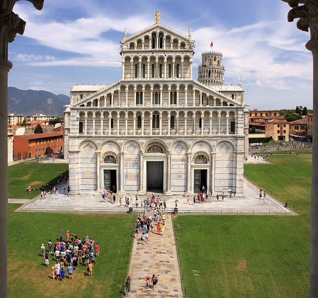 An elevated view from the Baptistry of St. John  on Duomo di Pisa