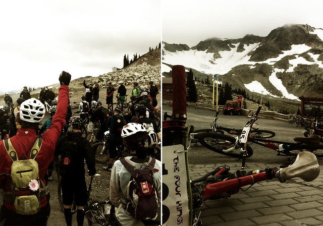 Chromag's Julian Hine getting the riders pumped for 4 Kings, day 4