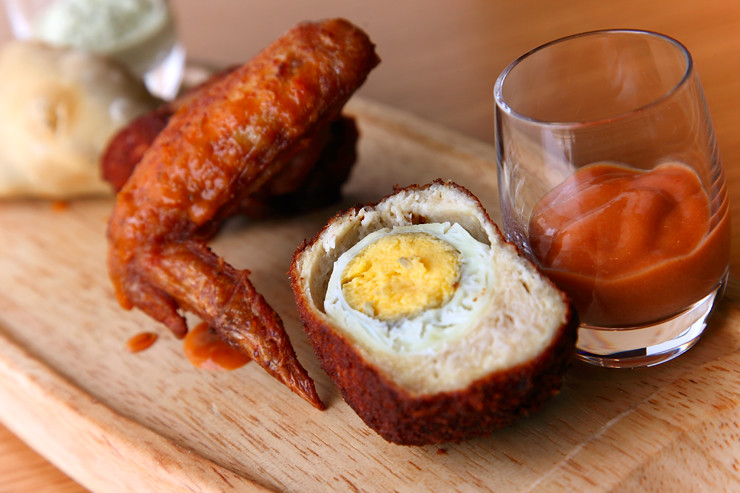 Scotch Egg & Peri Peri Chicken Wing