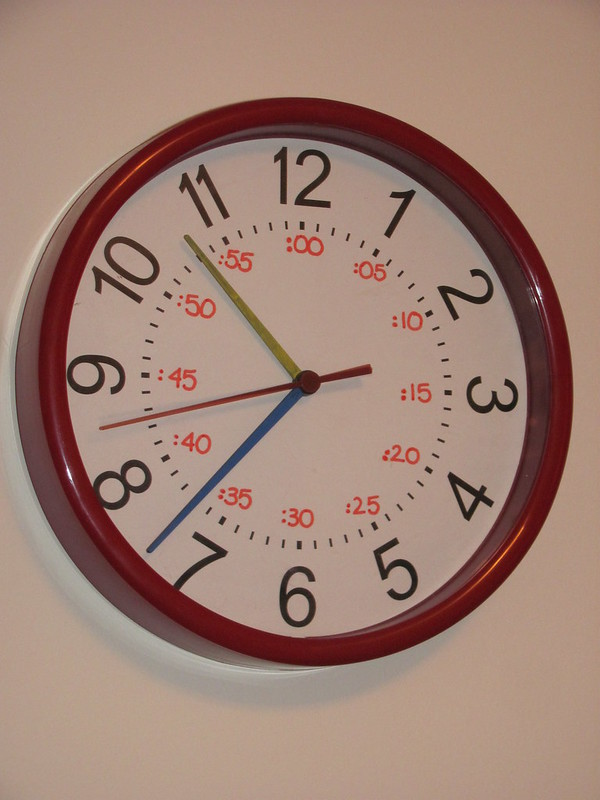 The cheap $5 clock I redid to help the kids tell time.