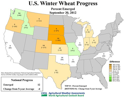 U.S. Winter Wheat Progress - Percent emerged September 30, 2012