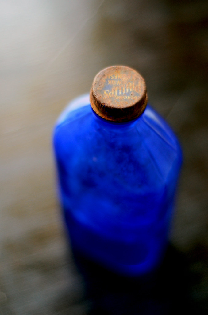 Vintage Cobalt Blue Glass Bottle 2