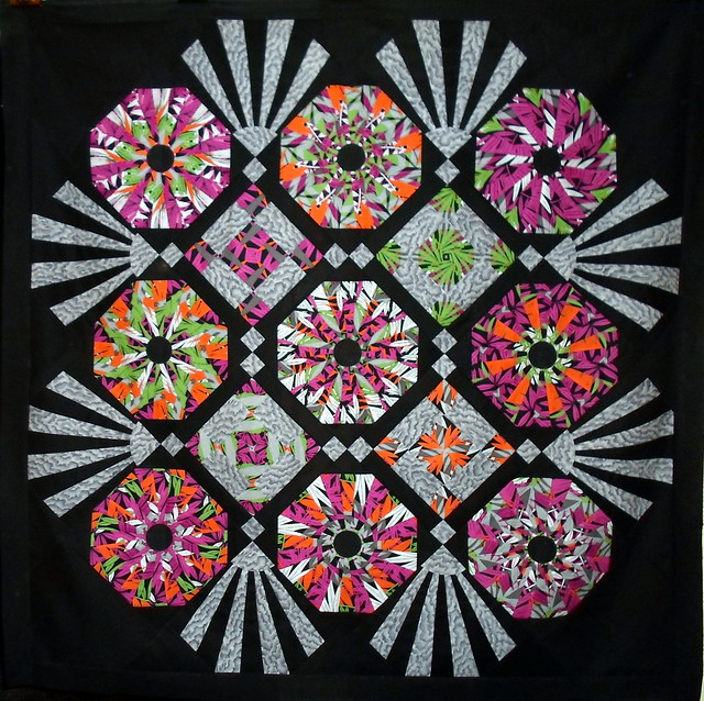 Black Deco Quilt with Colorful Floral Pattern