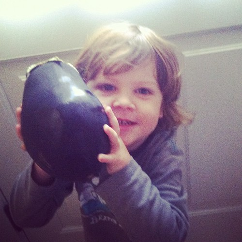 An eggplant the size of his head