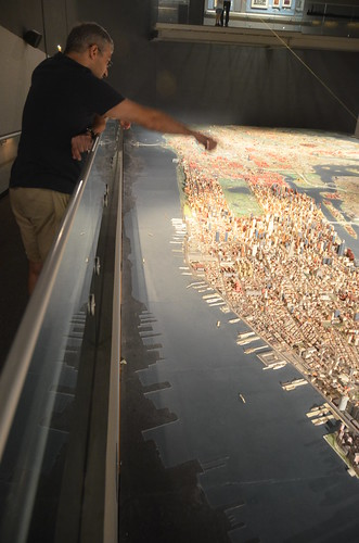 Queens Museum of Art | The Panorama of the City of New York | element of the stitched view from the west near the lower tip of Manhattan
