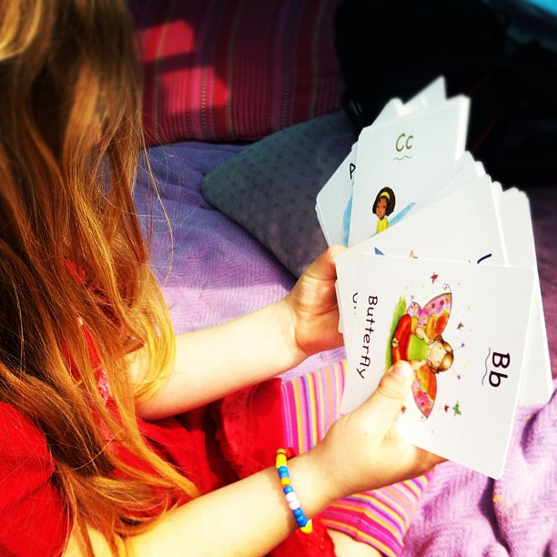 Yoga cards in the sunshine #abc #spiralgarden #yoga #learning #play