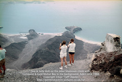 Sue & Sally Holt on the Jebel Shamsam climb with Conquest & Gold Mohur Bay in the background, Aden circa 1966