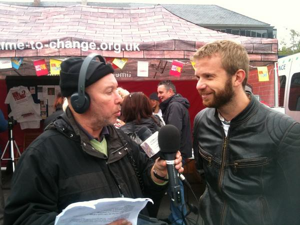 Rich from our events team is interviewed by BBC Radio Merseyside at the Time to Change Village in Liverpool