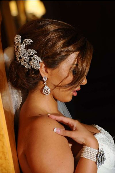 Diana, spectacular crystal-encrusted custom bridal headpiece, bracelet and earrings – Bridal Styles Boutique